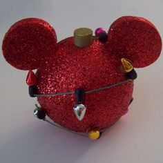 Your WDW Store - Disney Antenna Topper - Christmas Holiday Red Glitter Mickey Ears Lights