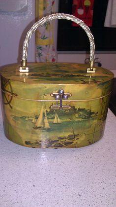 1960s Vintage Decoupage Wooden Box Purse Nautical by Jillsjewelsfl, $28.00