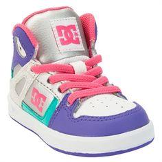 DC Shoes Girls 1st Walker Rebound High Top Sneakers #VonMaur #DCShoes #Purple #Silver #HighTop