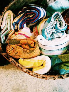 entry // basket of beach towels