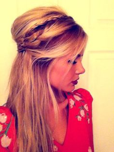 Love this half up, half down braid 'do! I should try something like this instead of trying to make my hair look so straight and 'perfect' all the time! Leave it a little messy : )