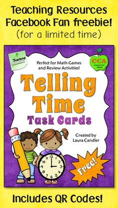 Download this free set of Telling Time Task Cards and the QR codes that go with them! This is for followers of the Teaching Resources Facebook page only, but it's easy to become a follower. Click the image, like the page, and download your freebie! This freebie will only be available for a limited time, so grab it now!