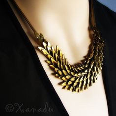 Antiqued Gold Statement Necklace  Fallen Angel  by xanadulady, $49.95