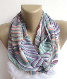 colorful chevron scarf ,women infinity scarf ,summer fashion scarf ,spring chiffon scarves ,eternity scarf