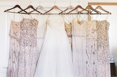 sequin bridesmaid dresses, photo by Michael Rousseau Photography http://ruffledblog.com/craigleith-ski-club-wedding #weddingfashion #bridesmaids