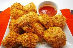 Cauliflower Nuggets--yummy! ... SUB sprout grain bread crumbs! even better~