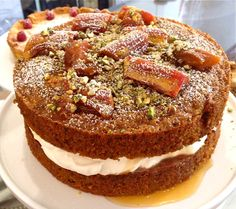 ... amp pistachio cake with a whipped creme fraiche amp rhubarb compote