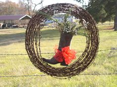 Barbwire Christmas Wreath, 2012 Suggs Farm.  (Tallow tree balls and rosemary)