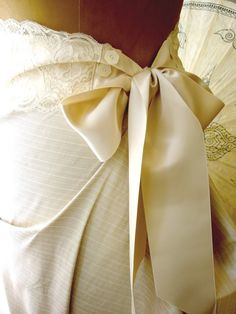Something Borrowed...Adele Lace and Silk Satin Sash with Vintage Buttons