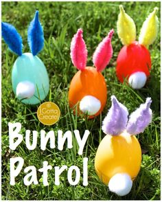 Plastic eggs become bunnies with chenille stem ears. Tutorial via I Gotta Create!