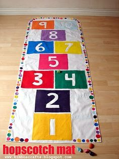 Homemade hopscotch mat. Love this, but I would sew it instead of using a glue gun