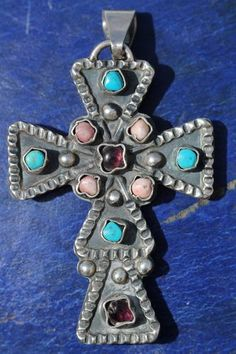 Vintage Mexican Taxco 925 Sterling Silver Multi Stone Holy Cross Pendant | eBay