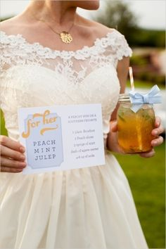 Signature cocktail at this wedding: A peach mint julep! | Southern Wedding Ideas At The Milestone by Jeremy & Kristin Photography on Wedding Chicks— Loverly Weddings