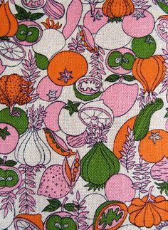 Bright Fruit and Veg Vintage Fabric Yardage-1 3/4 Yards by MarketHome