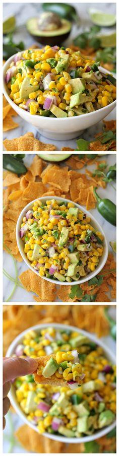 salad, dip, avocado corn salsa, avocadocorn, food, chipotl corn, healthi, yummi, recip