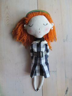 Art Textile Redhead Doll Fabric Cloth Soft by KukloFerma