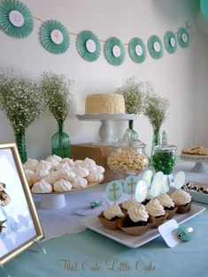 Communion Dessert Table.  Many of the sweets can be packaged and sent  home as favors