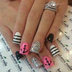 nail designs, pink nail, nail arts, nautical theme, nail ideas, sailor, stripe, nautical nails, anchor