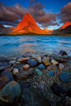 sunset peak, glacier nation, nation park, sunsets, montana