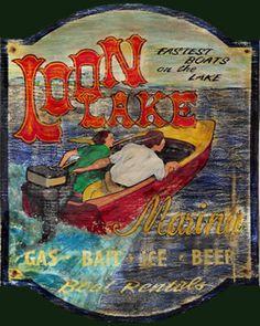 Loon Lake vintage Lake cabin sign