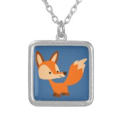 Cute Friendly Cartoon Fox Necklace #jewellery #fox #friendly #cute #cartoon #cheerfulmadness #ForHer #comics #kawaii