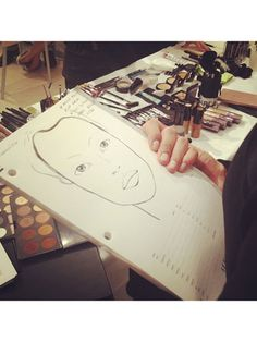 Makeup artists use a face chart to plan out the look at BCBG Max Azria! #nyfw