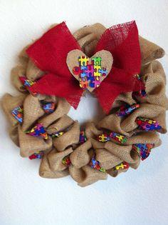 Burlap Autism Awareness Wreath Ryan's Wreath puzzle piece wreath on Etsy, $25.00