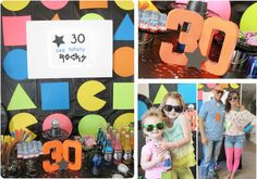 Totally Awesome 80's. Fun backdrop, neon colors, rubix cubes, light balls (colored disco balls), black and silver, neon rock candy, pop rocks and shredded gum, raisinettes, JEM...