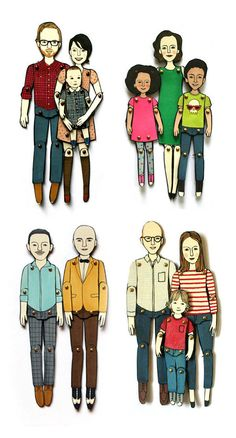 these would be a cool gift idea fro a family and to adorn a kiddies bedroom: personalized paper dolls custommade to look by Jordan Grace Owens