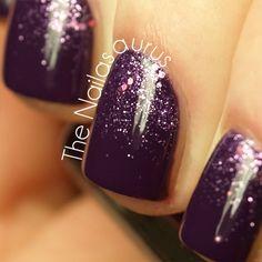 LOVE~LOVE this gorgeous dark purple glitter gradient inspired mani!!!! ღ❤ღ