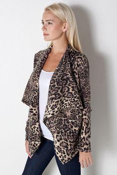 Drape Cardigan in Leopard by Bardot