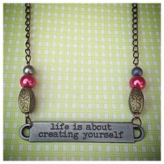 Darling Beaded Quote Necklace on Etsy, $10.00