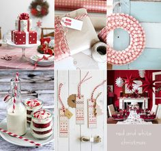 Red and white winter bridal shower decorations