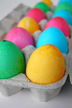 Dye eggs with food coloring
