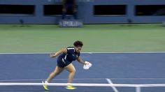 In the bag! US Open ball girl makes epic snag mid-match