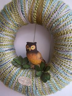 owl and yarn wreath by Katie Runnels