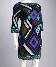 Take a look at this Sandra Darren Purple & Teal Diamond Plus-Size Dress by Style Picks: Plus-Size Trends on #zulily today!