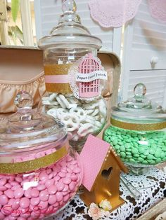 Vintage Shabby Chic Baby Shower Party candy jars! See more party planning ideas at CatchMyParty.com!