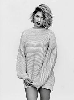 Léa Seydoux by Alasdair McLellan short hair, sweater, lea seydoux, bob, leaseydoux, style, léa seydoux, dark lips, beauti