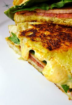 grilled pimento cheese sandwich with country ham and arugula on sourdough