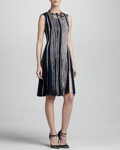 OSCAR DE LA RENTA Cashmere-Silk Bolero (not shown) & Sleeveless Floral-Strip Dress