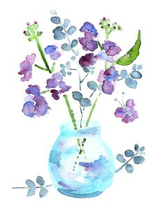 water-colour flowers in glass jar