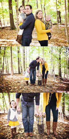 Awesome example of great outfit coordination, NOT matching, for family portrait photography.  Yellow and blue and brown, oh my!  LOVE THEM!