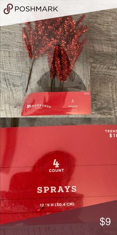 WONDERSHOP Christmas Red Tinsel Sprays Extra decorations Wondershop for Target Holiday