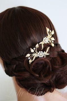 Wedding Hair Comb Set Matt Gold Leaves Bridal Hair by LuluSplendor