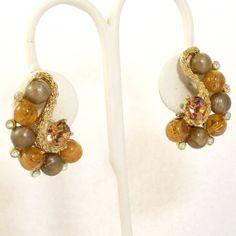 Vintage 1960s Earrings Rhinestone Beads Kramer Mad Men by Revvie1, $22.00