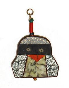 "Cynthia Toops: , Two-sided polymer clay bird pendant/ornament. Approx 2 1/2"" x 1 5/8""."