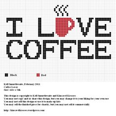 """I LOVE COFFEE"" Free Cross Stitch Chart"