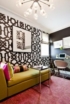 home office, wallpaper, black & white, interiors