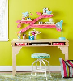 Add a branch shelf to your kid's desk! We love the cute look: http://www.bhg.com/decorating/do-it-yourself/accents/free-patterns/?socsrc=bhgpin071614branchshelf&page=3